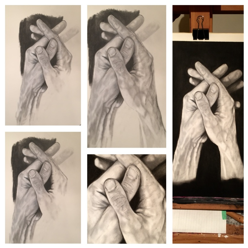 Here is a progression of the drawing