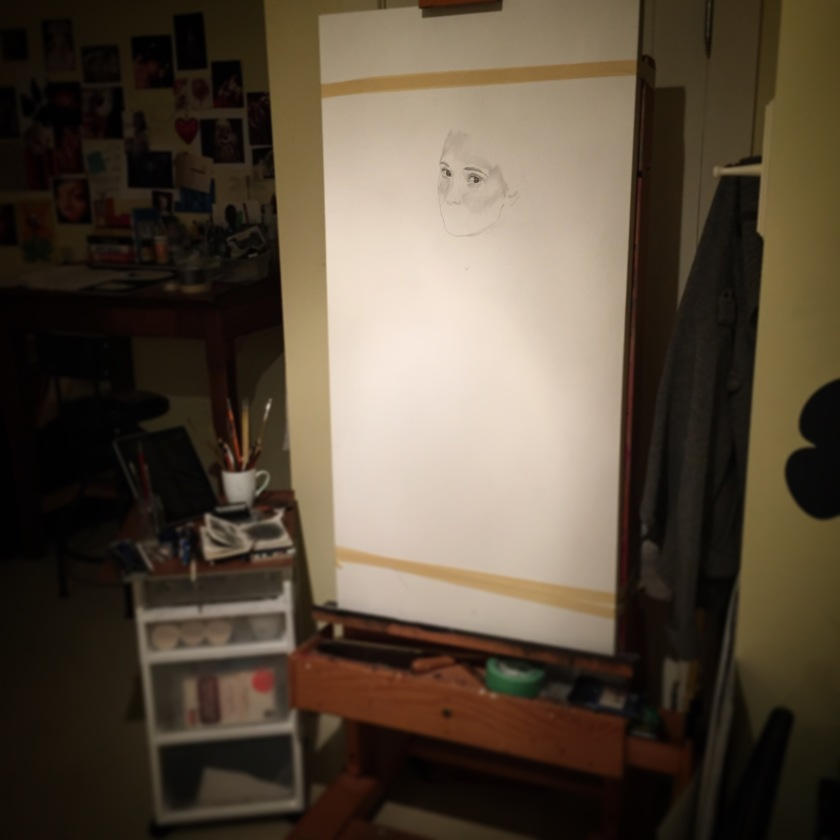 Starting the drawing for the under painting.